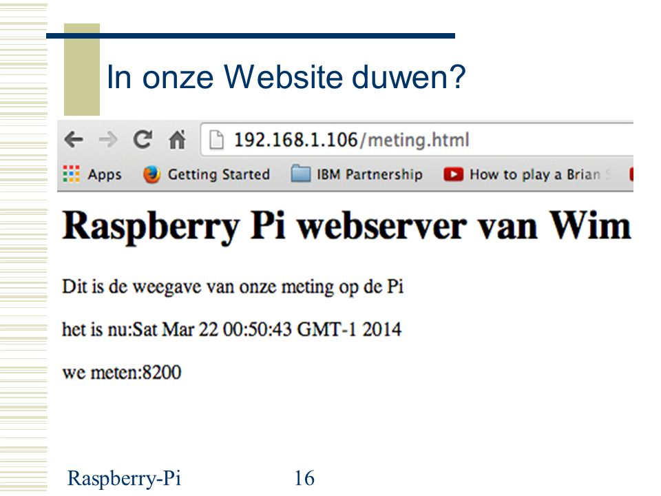 In onze Website duwen Raspberry-Pi