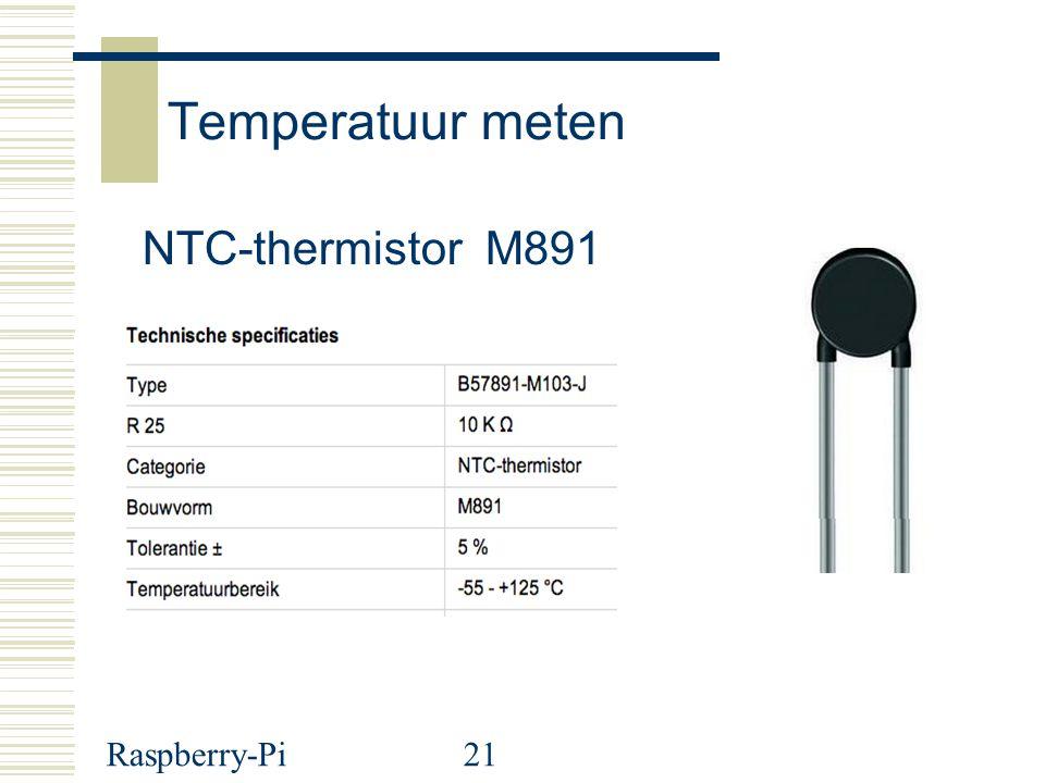 Temperatuur meten NTC-thermistor M891 Raspberry-Pi