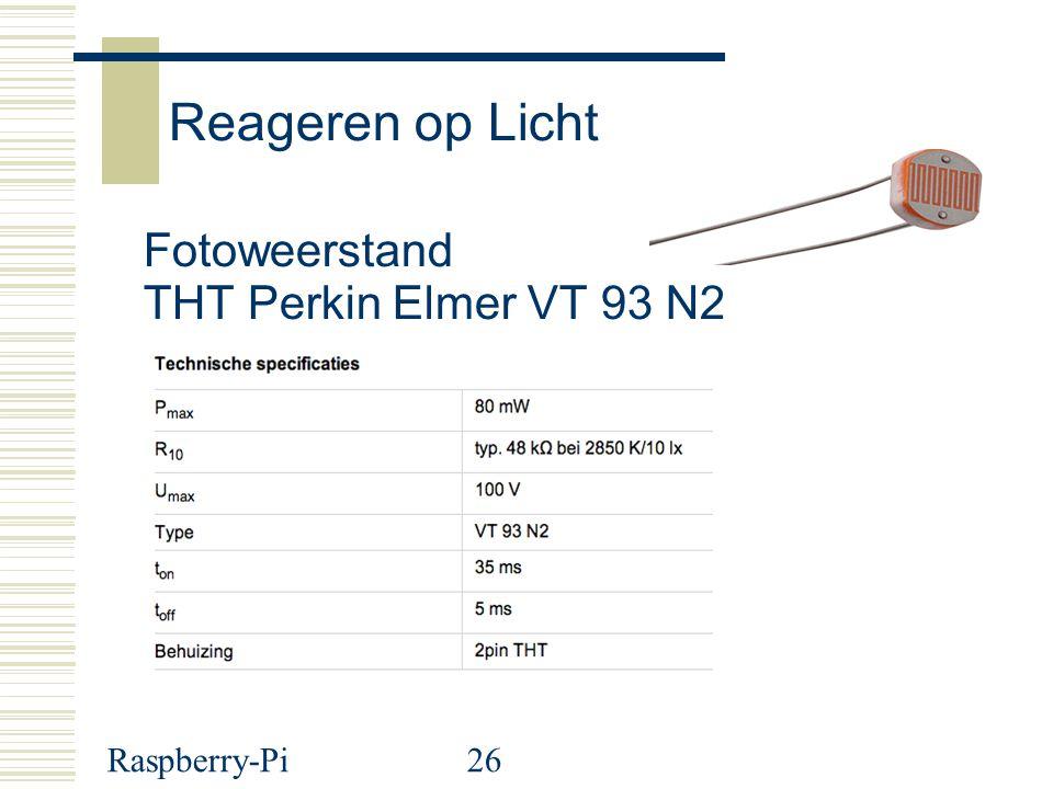 Reageren op Licht Fotoweerstand THT Perkin Elmer VT 93 N2 Raspberry-Pi