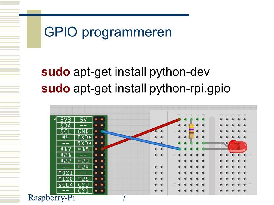 GPIO programmeren sudo apt-get install python-dev