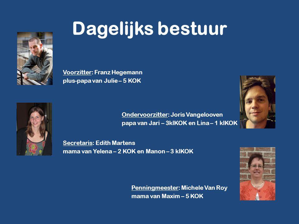 Dagelijks bestuur Voorzitter: Franz Hegemann plus-papa van Julie – 5 KOK Ondervoorzitter: Joris Vangelooven.