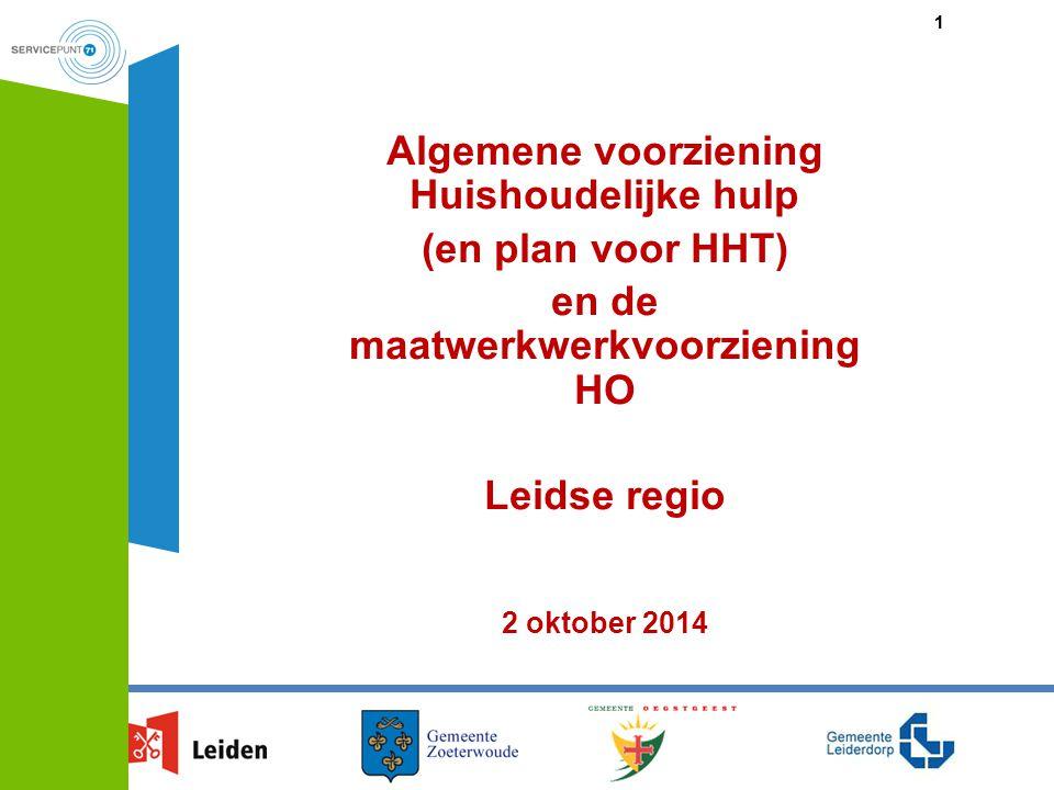 Algemene voorziening Huishoudelijke hulp (en plan voor HHT)
