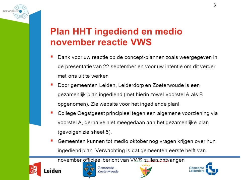 Plan HHT ingediend en medio november reactie VWS