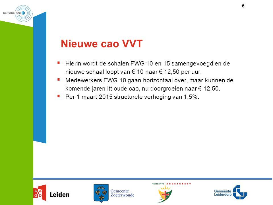 Nieuwe cao VVT Hierin wordt de schalen FWG 10 en 15 samengevoegd en de nieuwe schaal loopt van € 10 naar € 12,50 per uur.