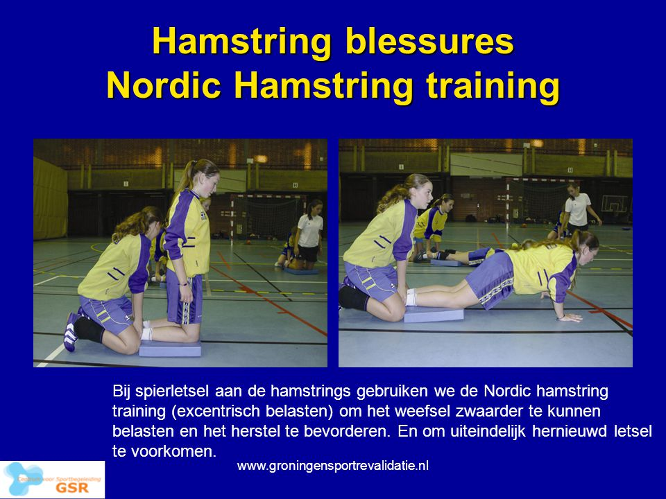 Hamstring blessures Nordic Hamstring training