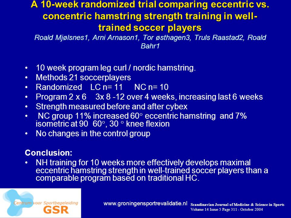 A 10-week randomized trial comparing eccentric vs