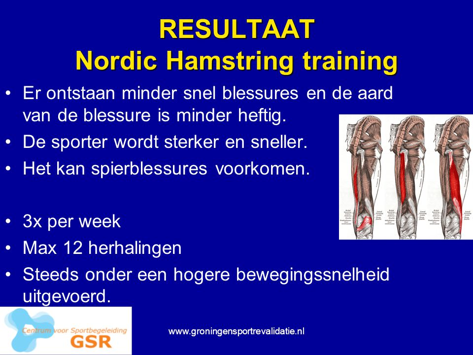 RESULTAAT Nordic Hamstring training