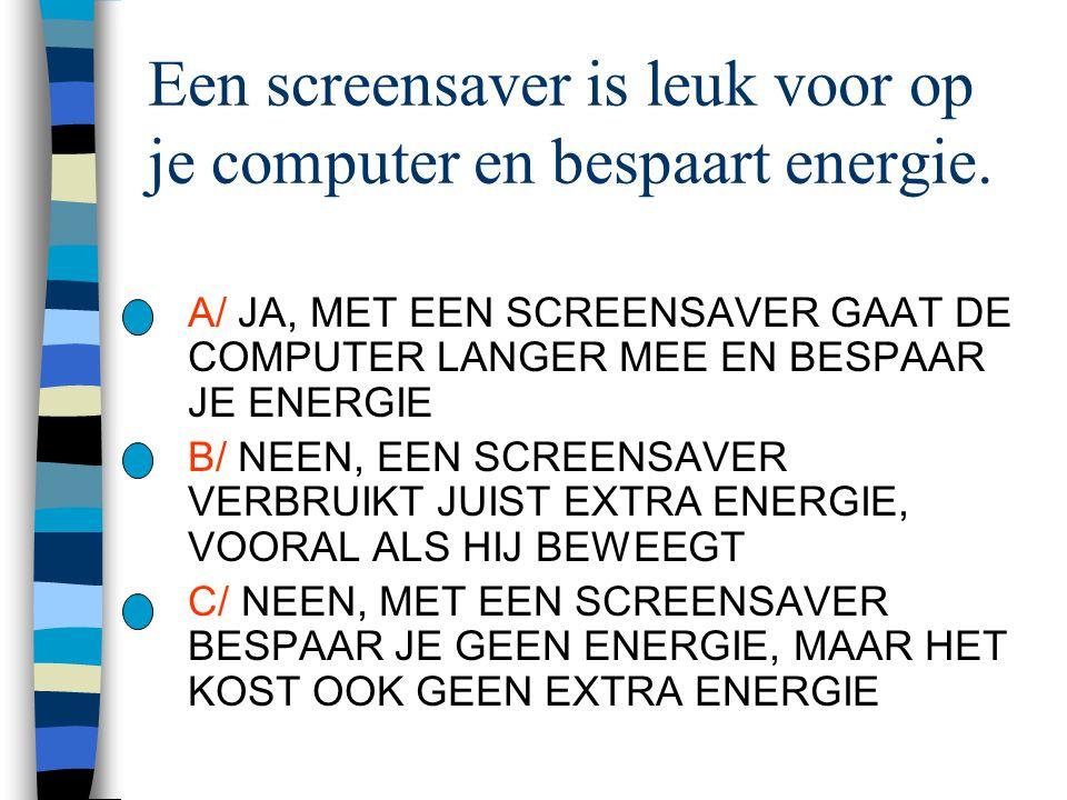 Een screensaver is leuk voor op je computer en bespaart energie.