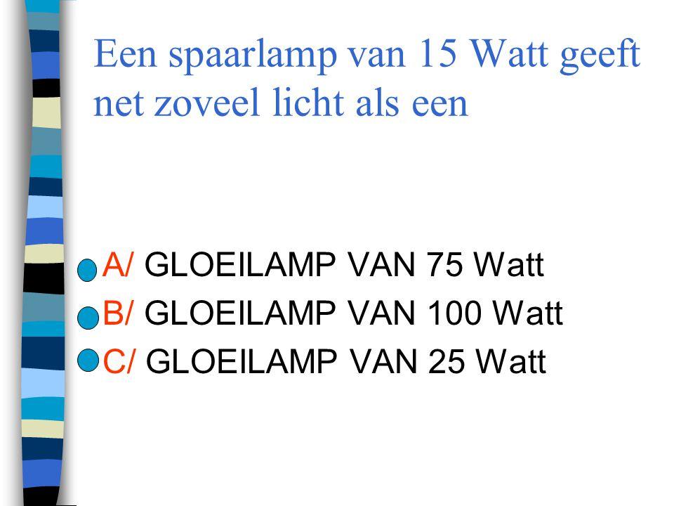 Een spaarlamp van 15 Watt geeft net zoveel licht als een