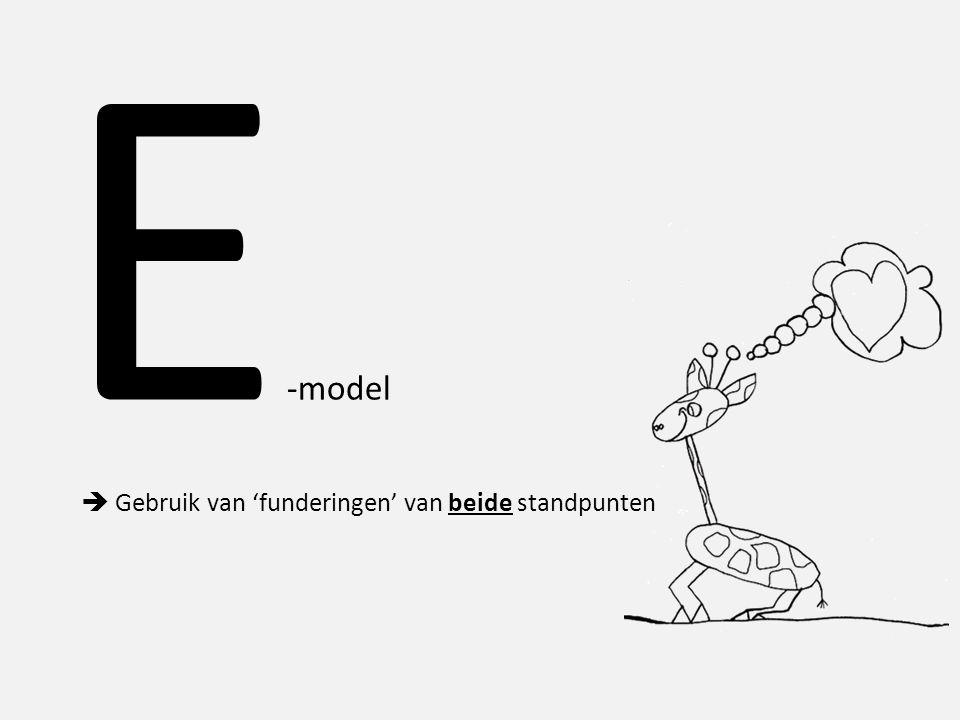 E-model  Gebruik van 'funderingen' van beide standpunten