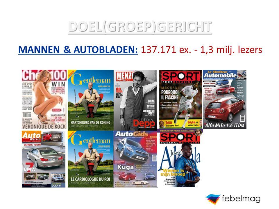 DOEL(GROEP)GERICHT MANNEN & AUTOBLADEN: 137.171 ex. - 1,3 milj. lezers