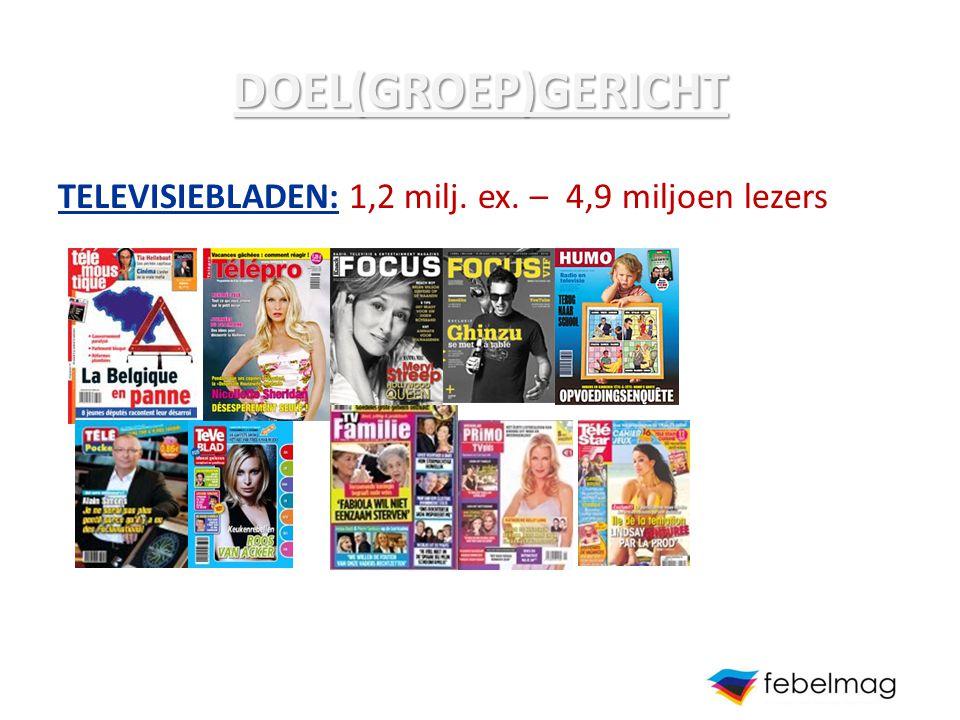 DOEL(GROEP)GERICHT TELEVISIEBLADEN: 1,2 milj. ex. – 4,9 miljoen lezers