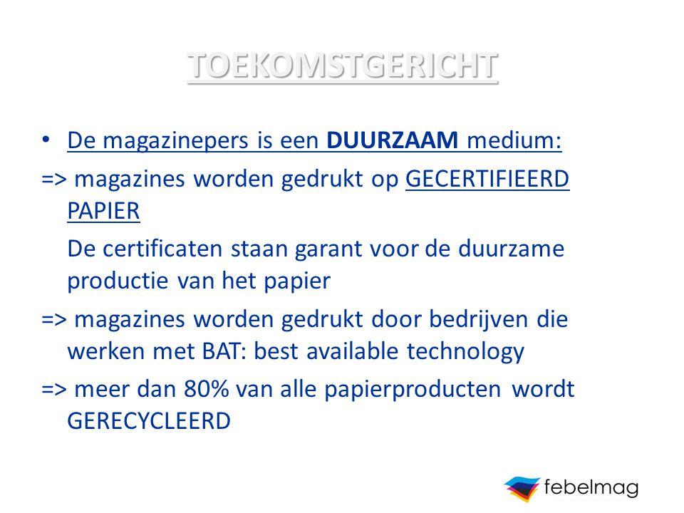 TOEKOMSTGERICHT De magazinepers is een DUURZAAM medium: