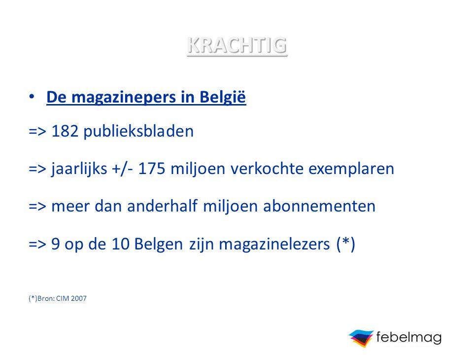 KRACHTIG De magazinepers in België => 182 publieksbladen