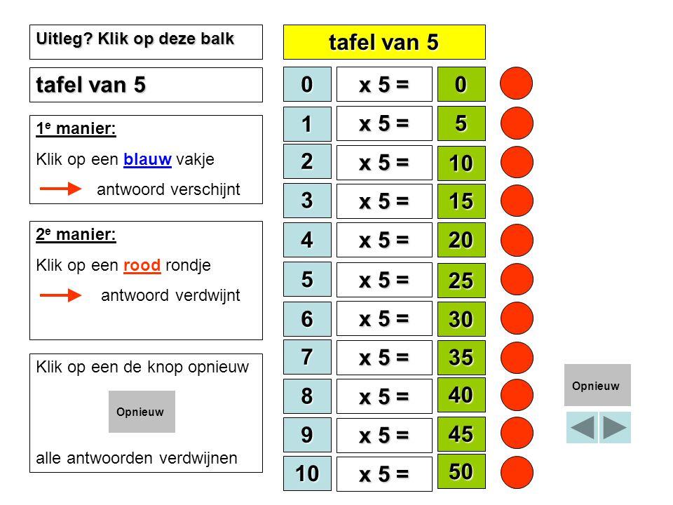 tafel van 5 tafel van 5 x 5 = 1 x 5 = 5 2 x 5 = 10 3 x 5 = 15 4 x 5 =