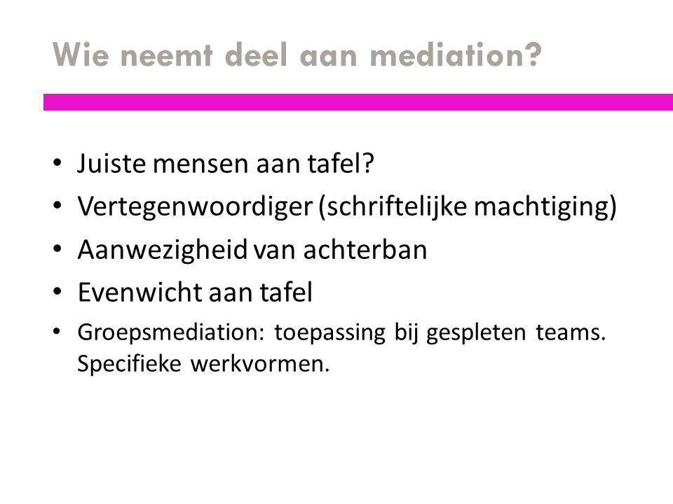 Wie neemt deel aan mediation