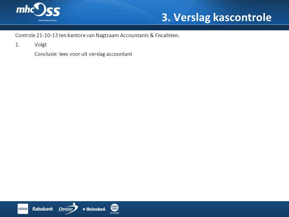 3. Verslag kascontrole Controle 21-10-13 ten kantore van Nagtzaam Accountants & Fiscalisten. Volgt.