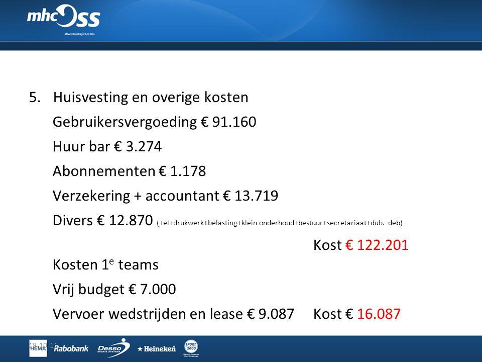 Huisvesting en overige kosten Gebruikersvergoeding € 91.160