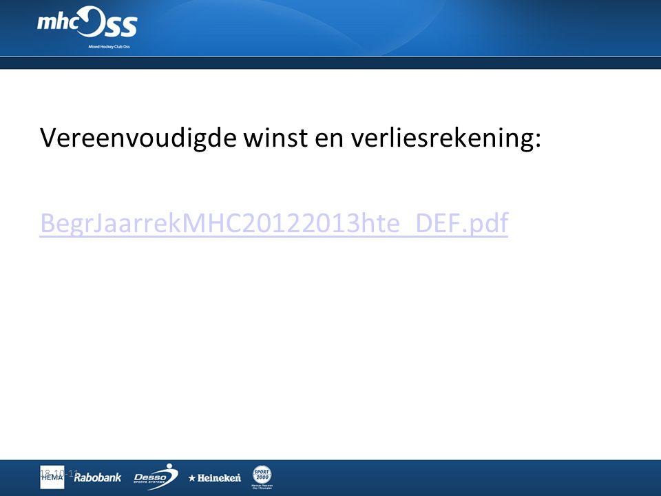Vereenvoudigde winst en verliesrekening: BegrJaarrekMHC20122013hte_DEF