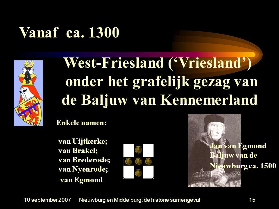 West-Friesland ('Vriesland') onder het grafelijk gezag van