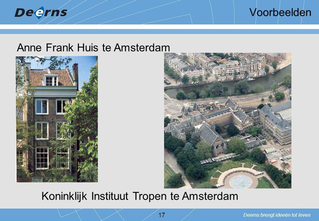 Voorbeelden Anne Frank Huis te Amsterdam Koninklijk Instituut Tropen te Amsterdam
