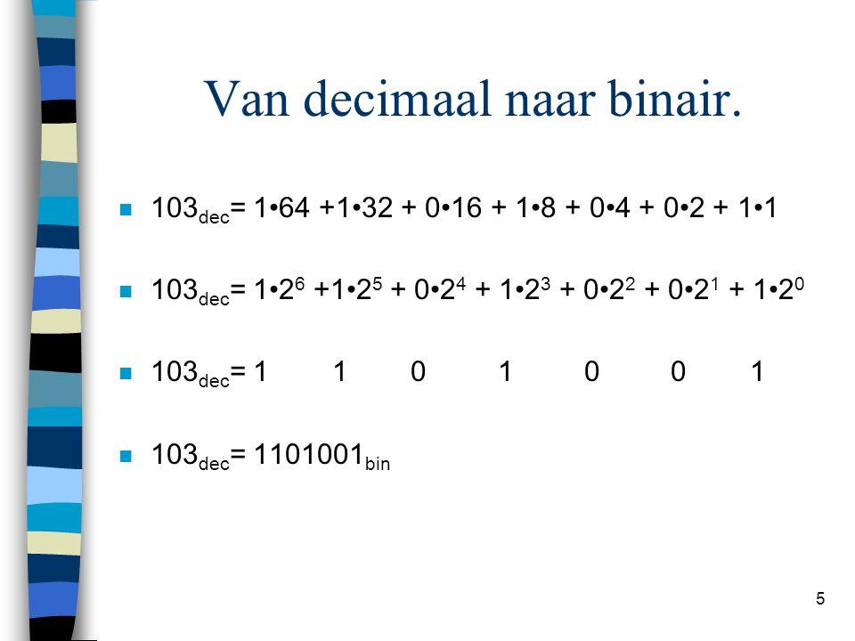 Van decimaal naar binair.