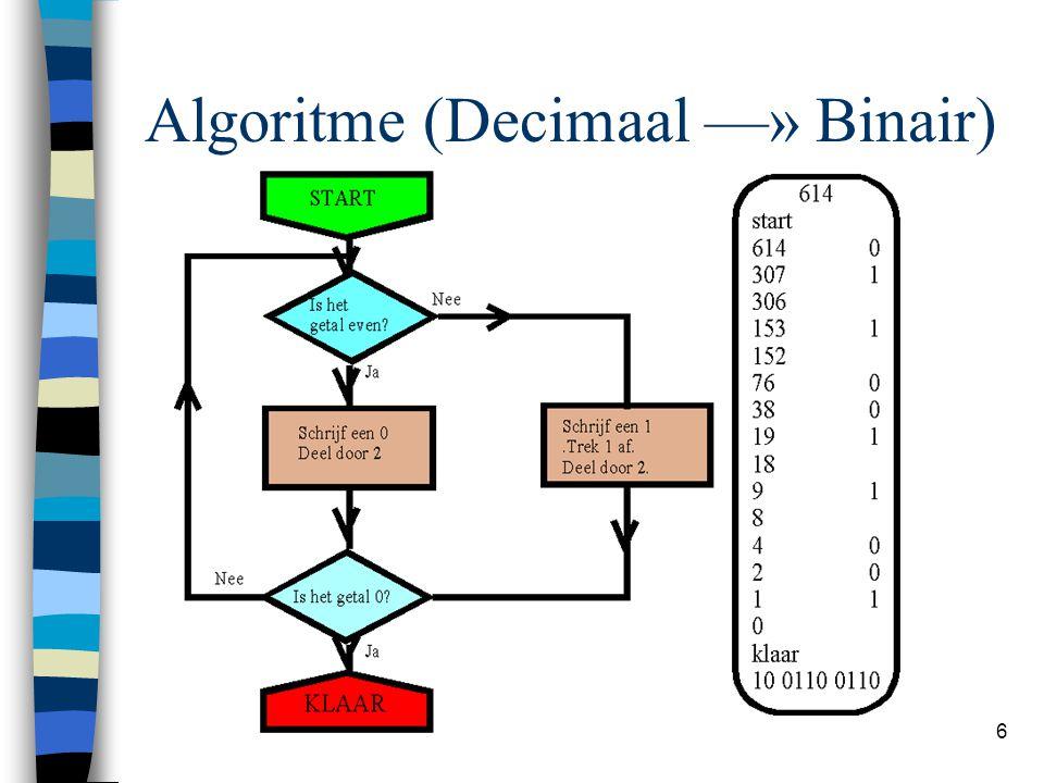 Algoritme (Decimaal —» Binair)