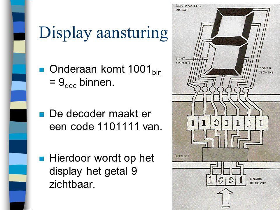 Display aansturing Onderaan komt 1001bin = 9dec binnen.