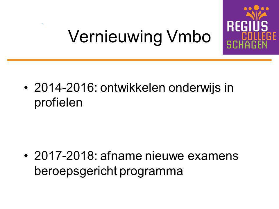 Vernieuwing Vmbo 2014-2016: ontwikkelen onderwijs in profielen