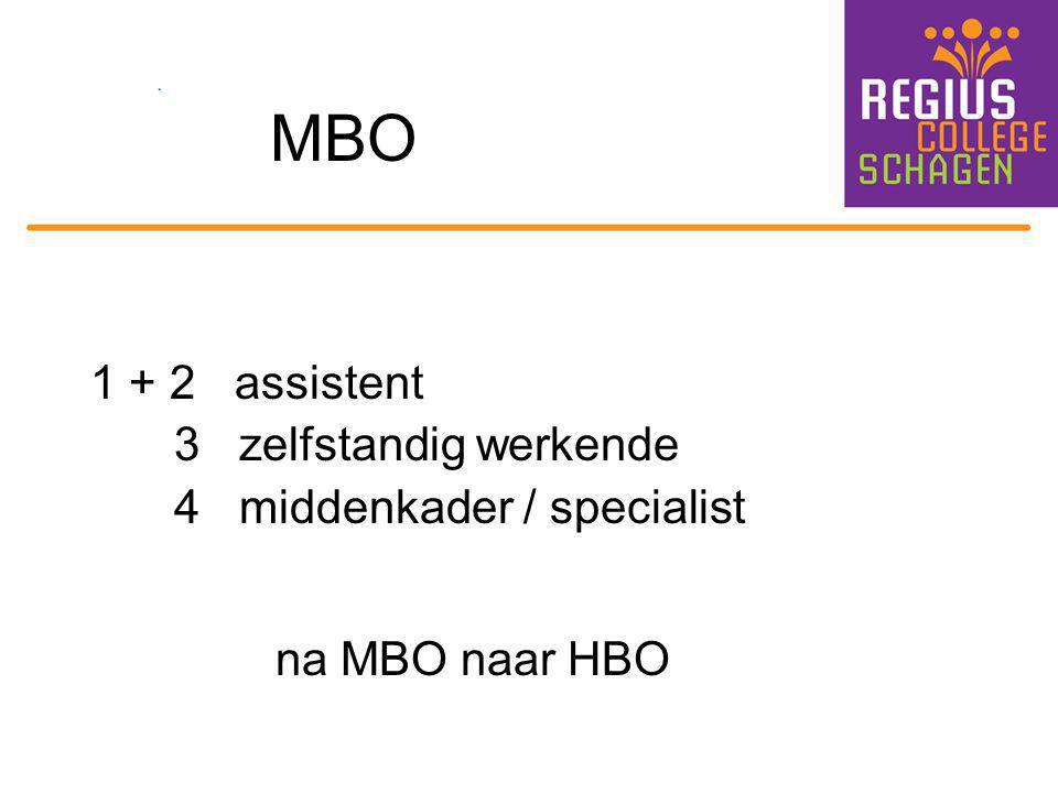 MBO na MBO naar HBO 1 + 2 assistent 3 zelfstandig werkende
