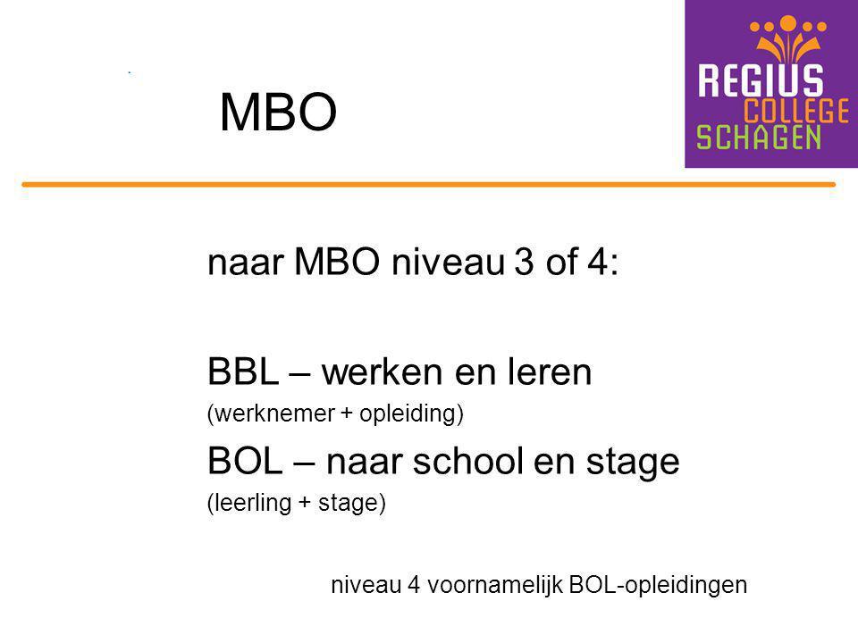 MBO naar MBO niveau 3 of 4: BBL – werken en leren