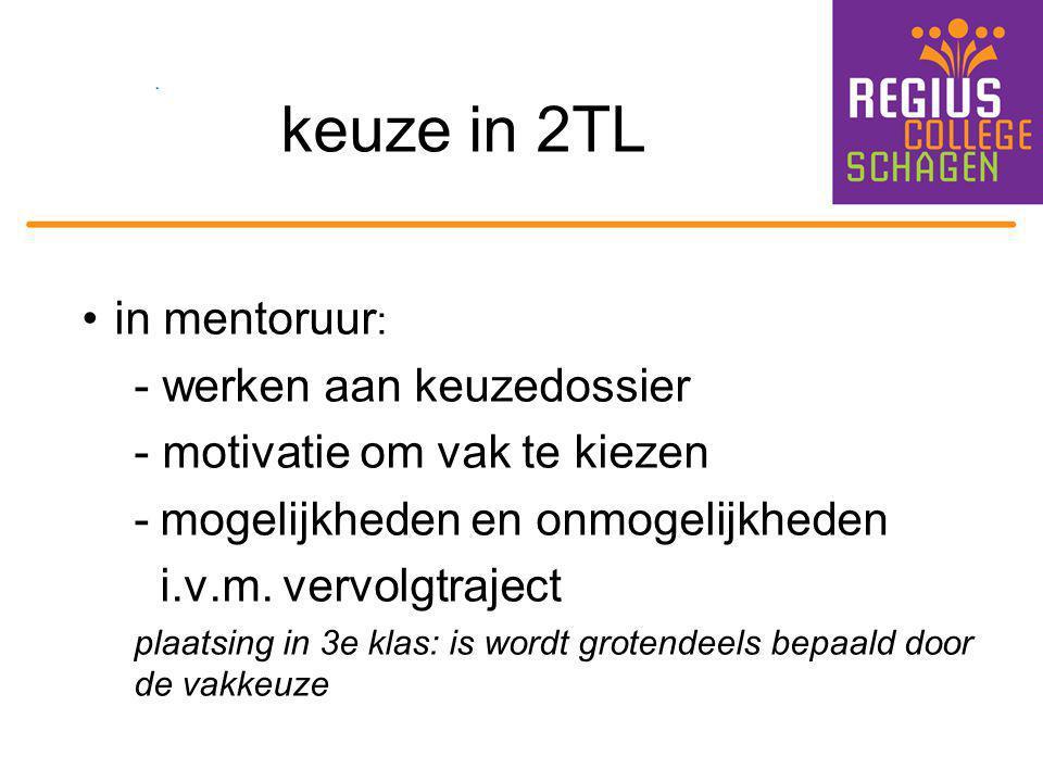 keuze in 2TL in mentoruur: - werken aan keuzedossier