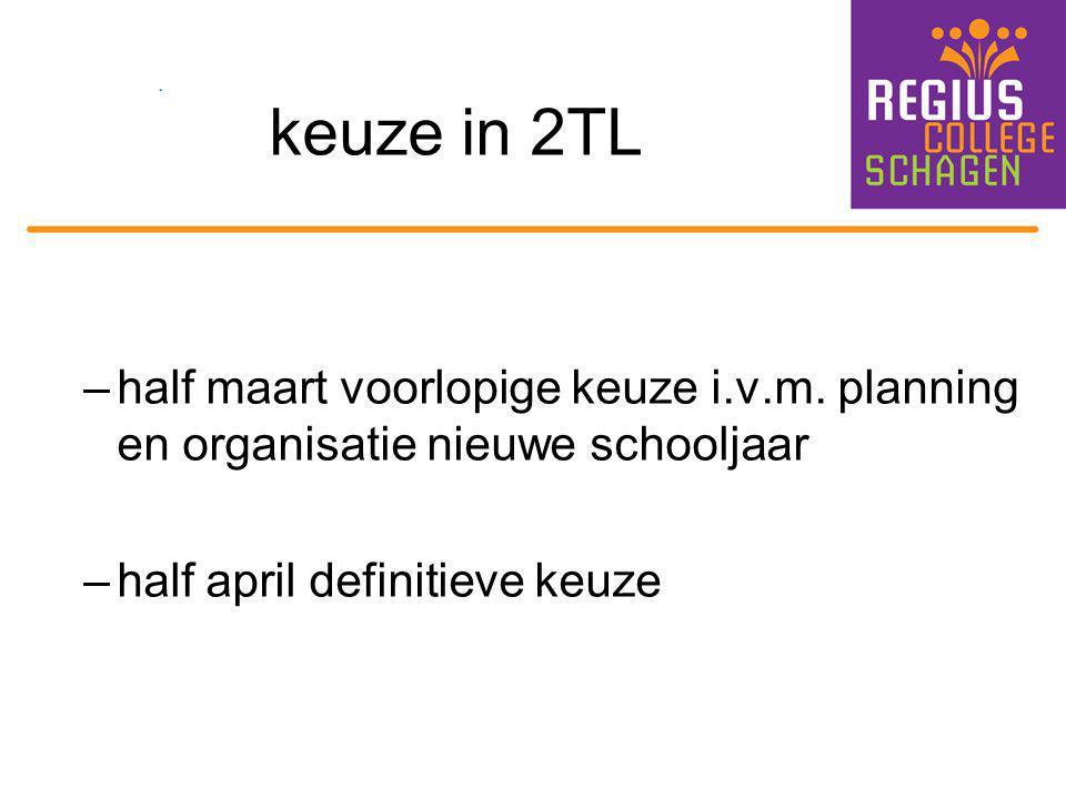keuze in 2TL half maart voorlopige keuze i.v.m. planning en organisatie nieuwe schooljaar.