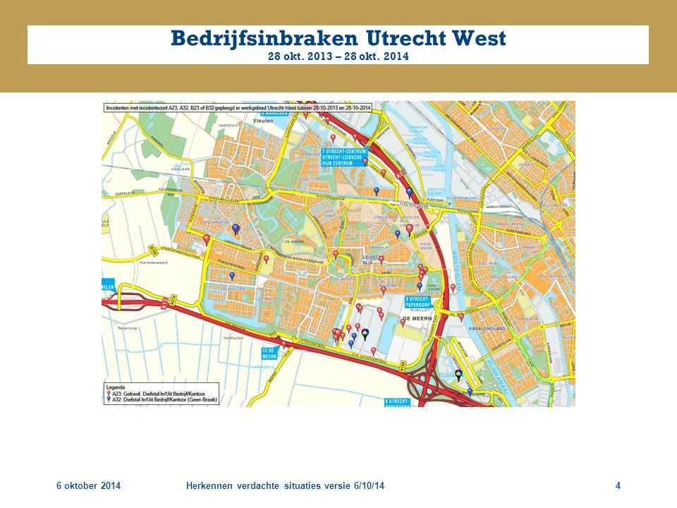 Bedrijfsinbraken Utrecht West 28 okt. 2013 – 28 okt. 2014