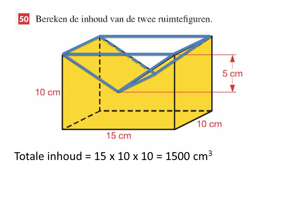 Totale inhoud = 15 x 10 x 10 = 1500 cm3