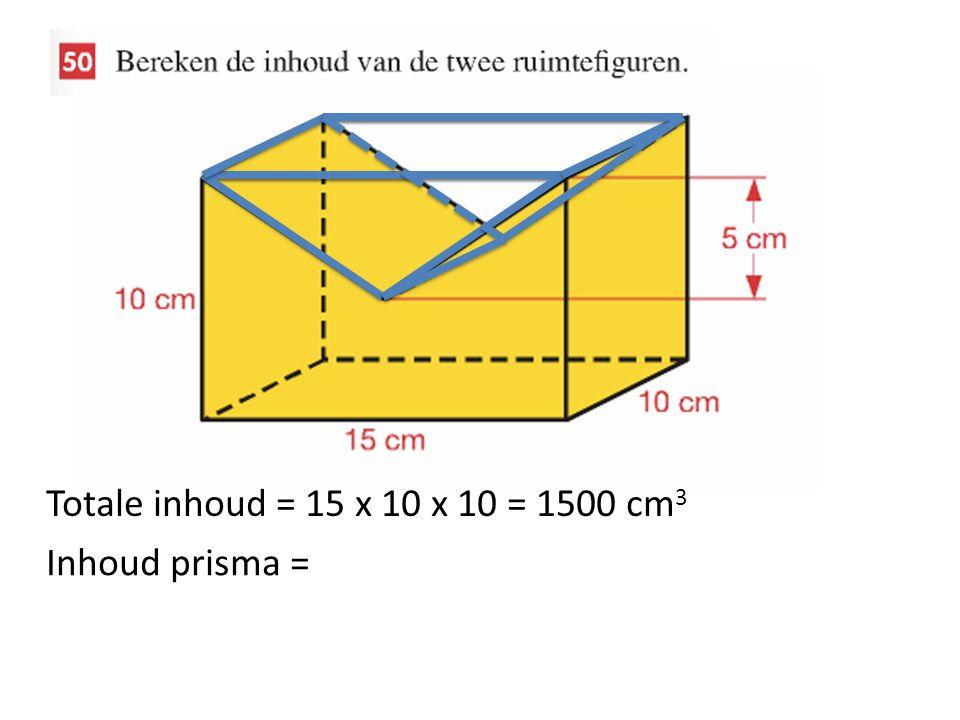 Totale inhoud = 15 x 10 x 10 = 1500 cm3 Inhoud prisma =