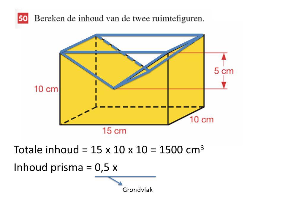 Totale inhoud = 15 x 10 x 10 = 1500 cm3 Inhoud prisma = 0,5 x