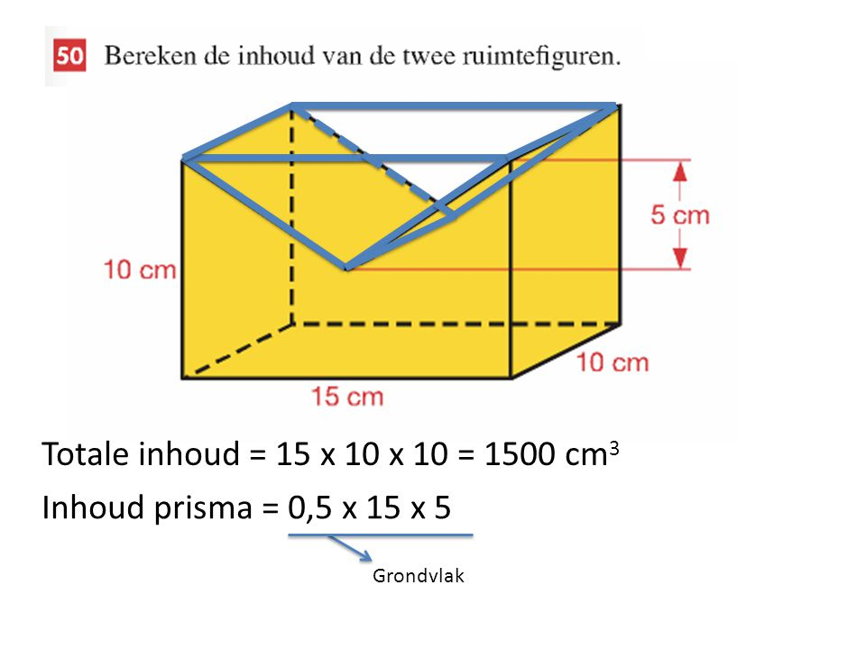 Totale inhoud = 15 x 10 x 10 = 1500 cm3 Inhoud prisma = 0,5 x 15 x 5