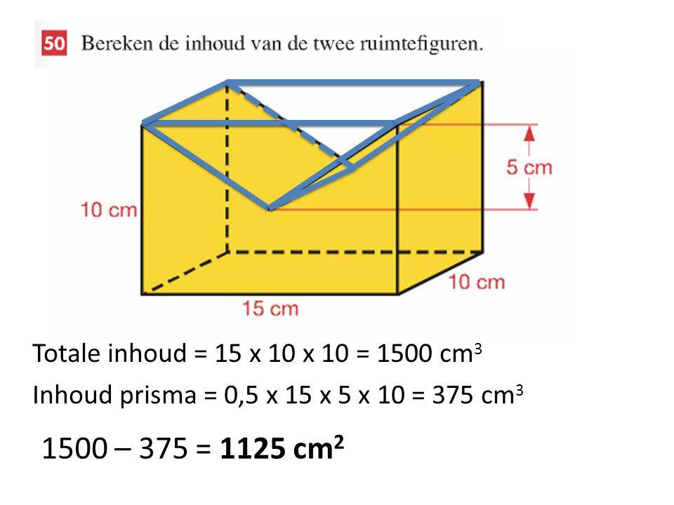 1500 – 375 = 1125 cm2 Totale inhoud = 15 x 10 x 10 = 1500 cm3