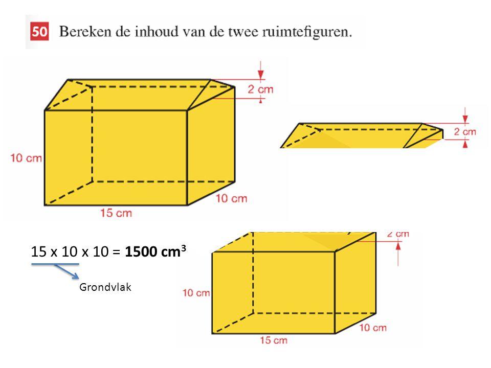 15 x 10 x 10 = 1500 cm3 Grondvlak