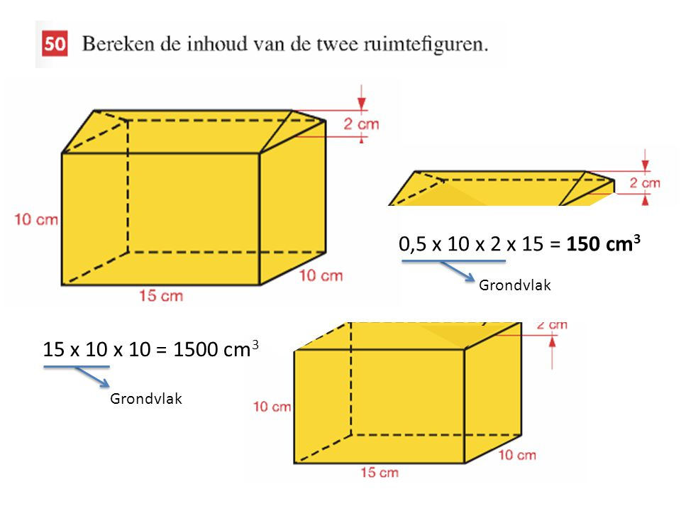 0,5 x 10 x 2 x 15 = 150 cm3 15 x 10 x 10 = 1500 cm3 Grondvlak
