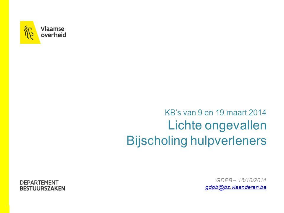 GDPB – 16/10/2014 gdpb@bz.vlaanderen.be