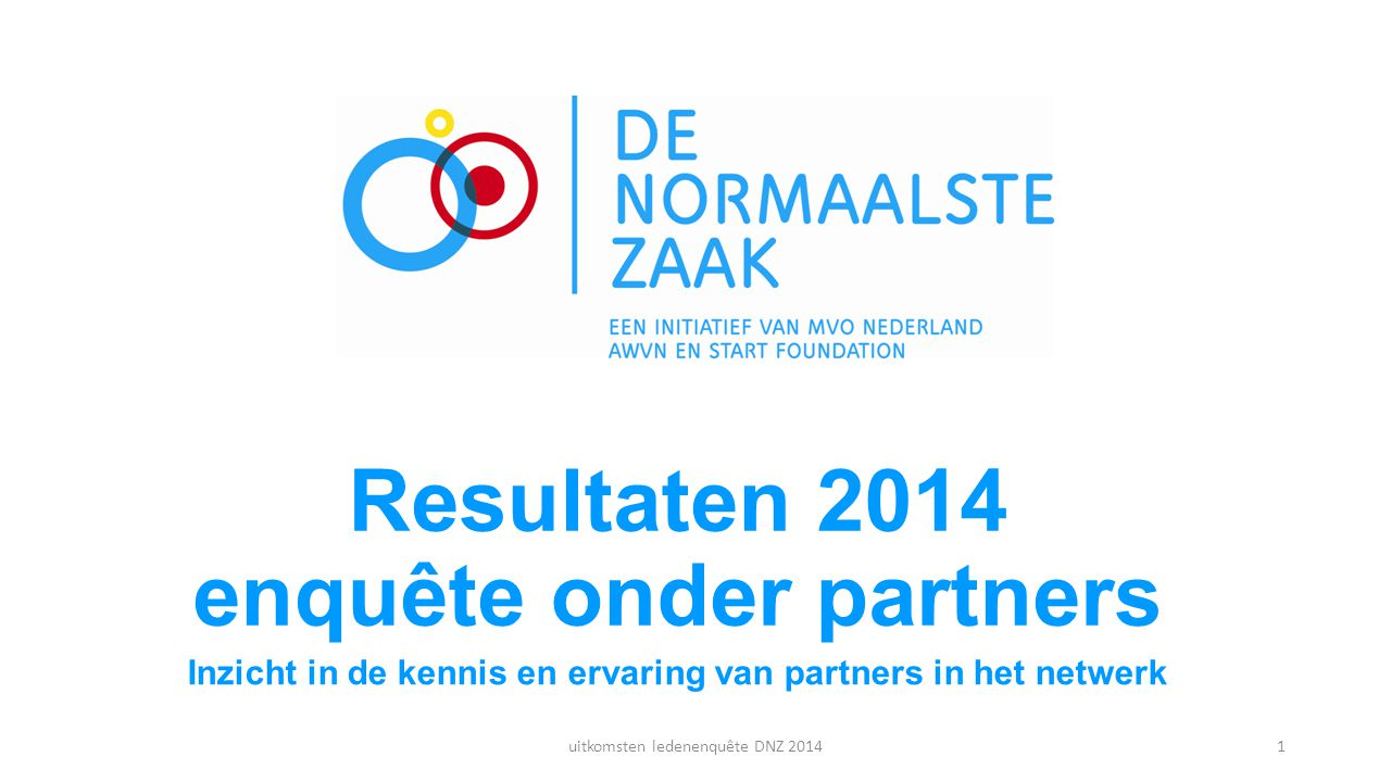 Resultaten 2014 enquête onder partners