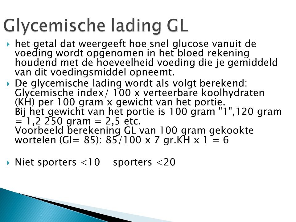 Glycemische lading GL