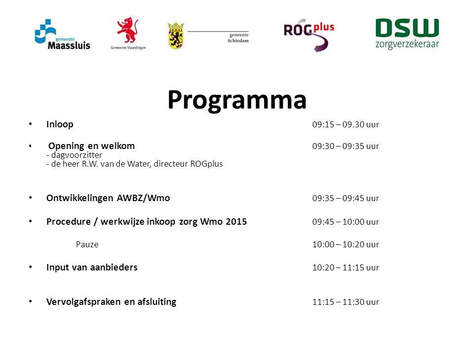 Programma Inloop 09:15 – 09.30 uur