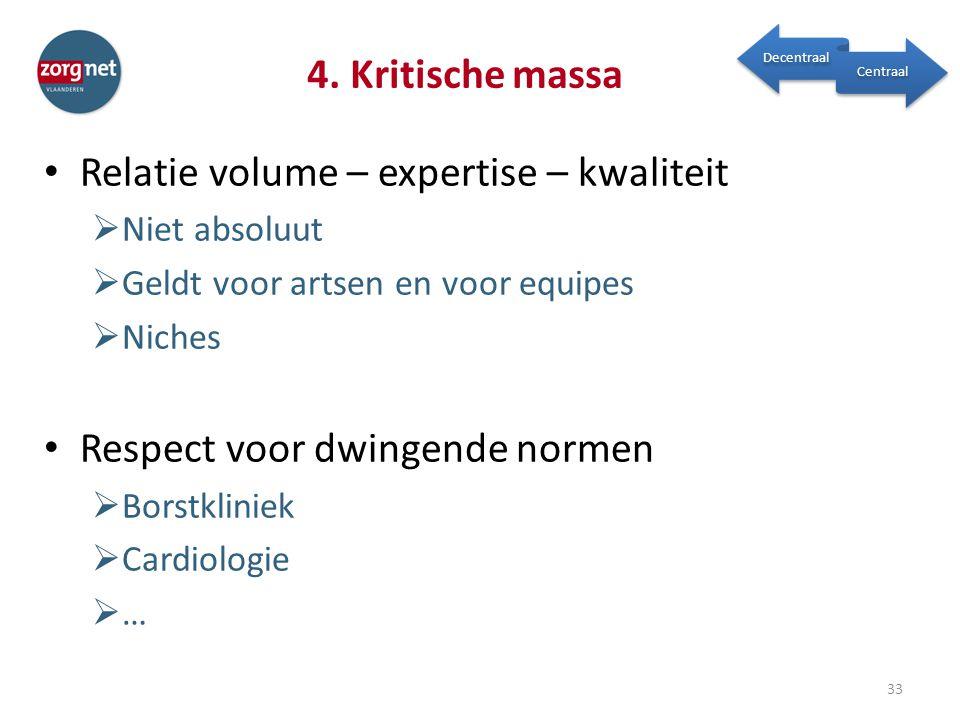 Relatie volume – expertise – kwaliteit