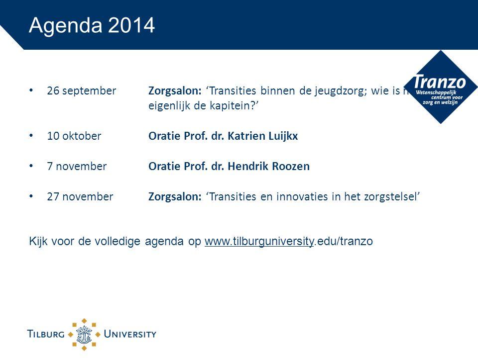 Agenda 2014 26 september Zorgsalon: 'Transities binnen de jeugdzorg; wie is nu eigenlijk de kapitein '