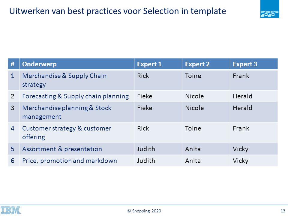 Uitwerken van best practices voor Selection in template