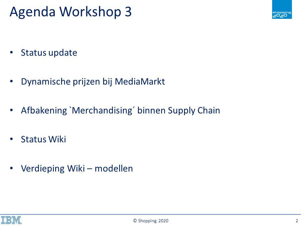 Agenda Workshop 3 Status update Dynamische prijzen bij MediaMarkt