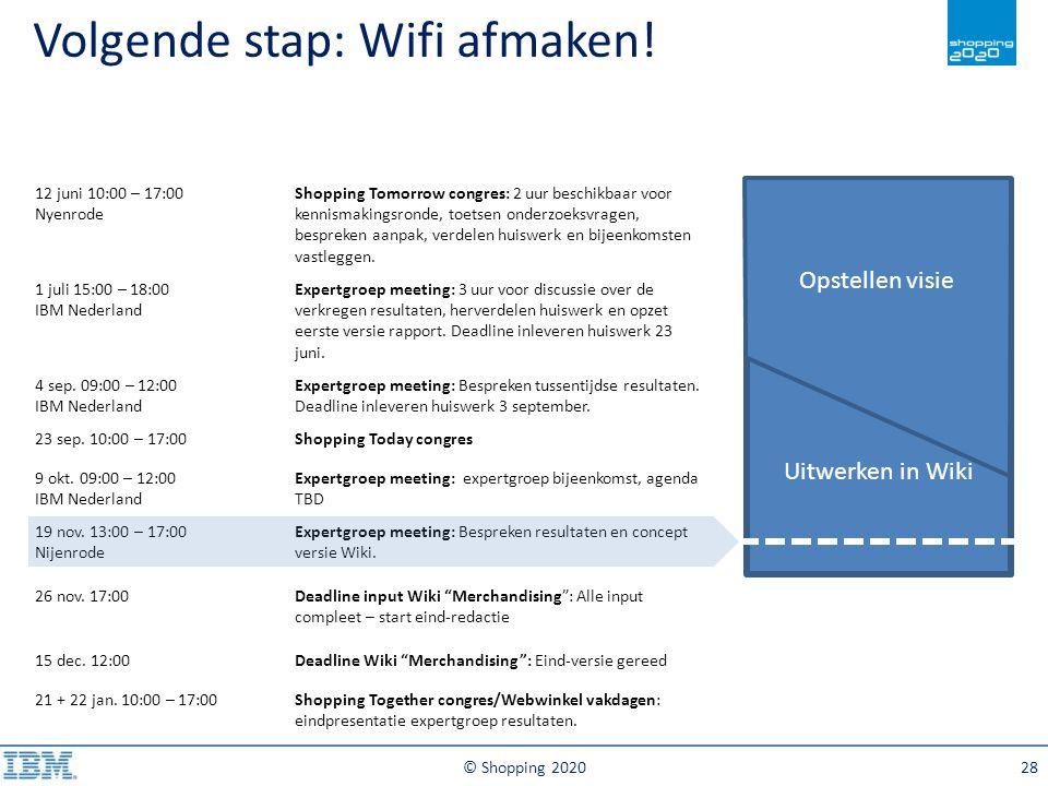 Volgende stap: Wifi afmaken!